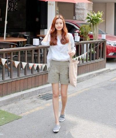 Mix quần Short cùng giày Slip on cho nàng sự năng động, thoải mái