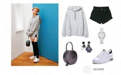 Áo hoodie mỏng cho nữ với stye giấu quần - Ảnh 1