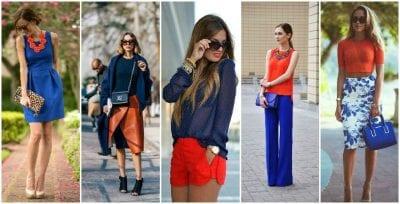 Phối màu sắc trang phục cùng xanh da trời và cam