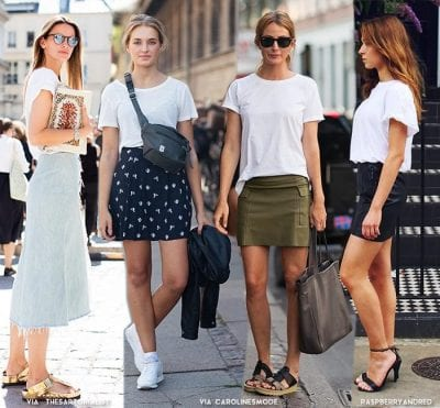 Tuỳ vào cách phối chân váy với áo phông bạn sẽ có những phong cách khác biệt, từ bánh bèo cho đến cá tính
