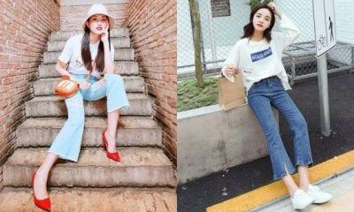 Nếu nàng theo phong cách năng động thì không thể bỏ lỡ set đồ áo phông + quần jean ống loe lửng.