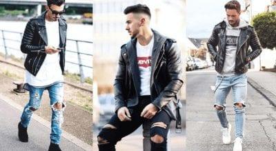 Có thể lựa chọn những items áo thun hay hoodie có màu sắc tương phản để phối cùng quần jeans và áo khoác da