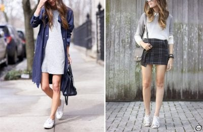 Váy đầm ngắn và sneakers chính là set đồ vô cùng đơn giản không thể thiếu trong tủ quần áo của phái đẹp. Đừng ngần ngại thử ngay set đồ này để trông bạn thật xinh xắn và quyến rũ hơn nhé.