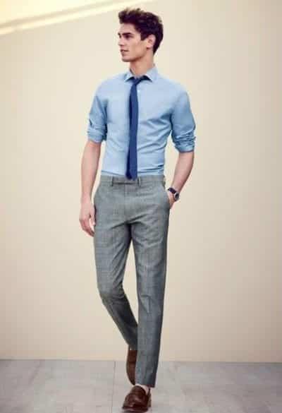 Quần âu, áo sơ mi và cà vạt mix cùng giày lười cho chàng trai công sở phong cách sang trọng