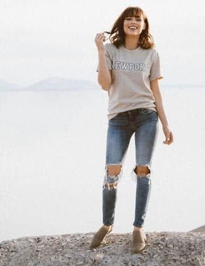 Giày oxford đế cao với quần skinny rách