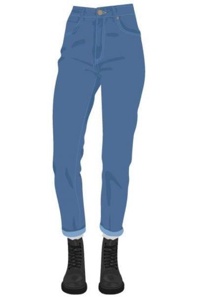 """Vào những năm 90s, mốt quần """"skinny jeans"""" trông khá thoải mái với dáng cạp cao"""