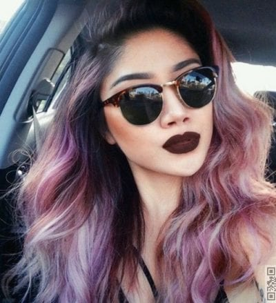 Tóc ombre hồng tím