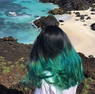 Tóc ombre xanh biển