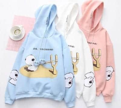 Điểm nhấn của Gaugaushop là những mẫu áo hoodie tươi sáng với những họa tiết bắt mắt đáng yêu