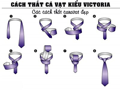 Hướng dẫn các bước thắt cà vạt kiểu Victoria