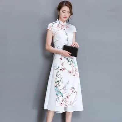 Set áo dài hoa đào kèm chân váy DT434 – giá sỉ 175,000 – 180,000đ /set.