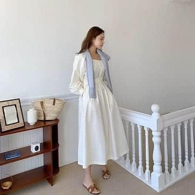 Váy trắng form rộng dáng dài