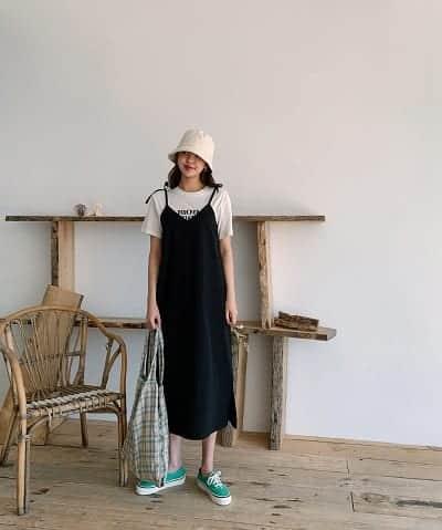 Váy yếm hai dây phối áo thun