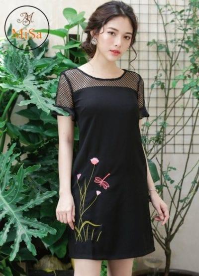 Đầm suông thêu tay loe MS312 – giá sỉ 155,000 – 165,000đ /cái.