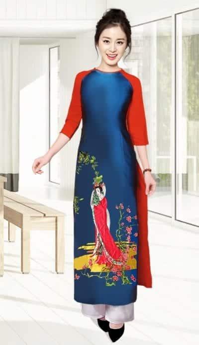 Áo dài truyền thống in hình cô tiên – giá sỉ theo số lượng 210,000 – 240,000đ /cái.