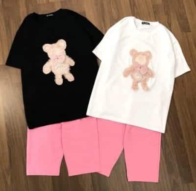 Set đồ bộ lửng gấu hồng logo siêu xinh – 115,000đ /bộ.
