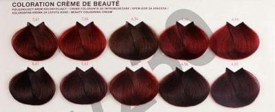 Bảng màu nhuộm tóc đỏ tím