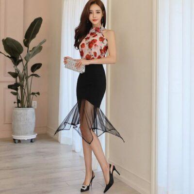 Áo yếm hoa + Chân váy body phối lưới