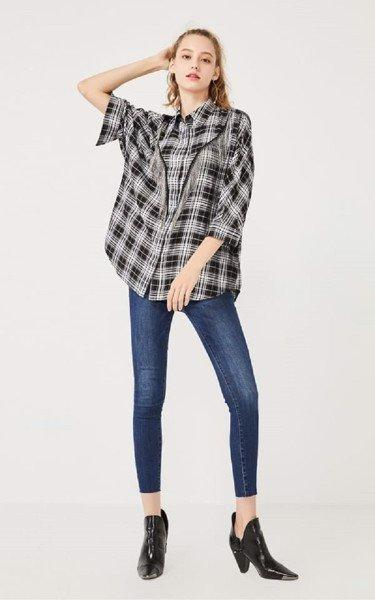 Áo phọt dài mặc với quần skinny jeans