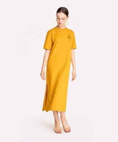 Đầm thun suông xẻ tà đơn giản