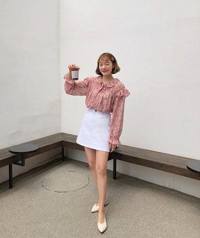 Áo Blouse điệu đà + Chân váy chữ A