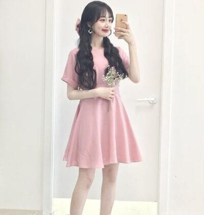 Váy hồng tay dơi cực tiểu thư