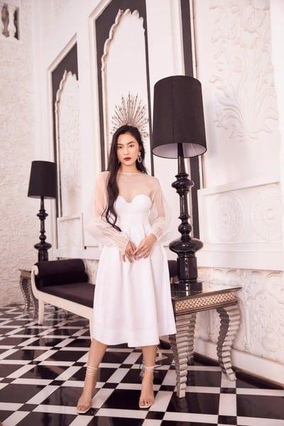 Váy xòe phối ren sắc trắng tinh khôi