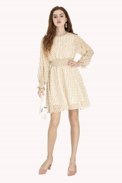 Váy xòe tay dài kết hợp bo chun chiết eo