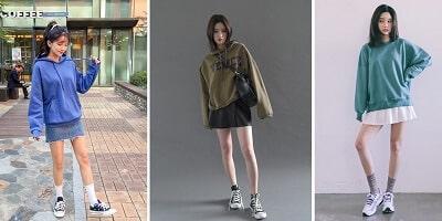 Áo hoodie + Chân váy + Giày sneaker nữ
