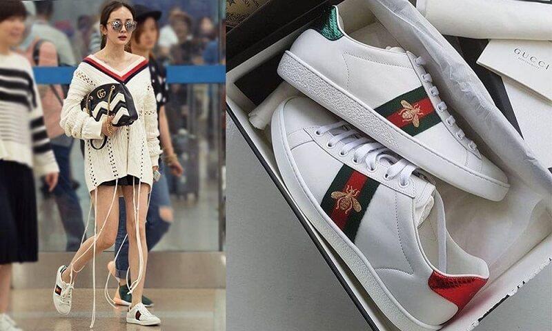 Giày Gucci Ong và quần jean