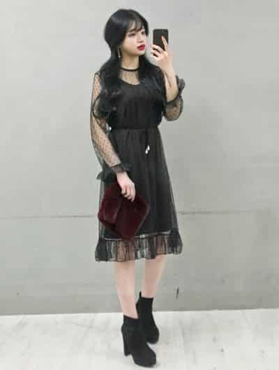 Đầm ren đen diện ngày tết 2022 tôn dáng